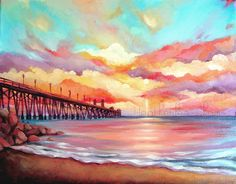 Colorful Beach Landscape Sunset  Acrylic Painting by ladypoppins, $4.00