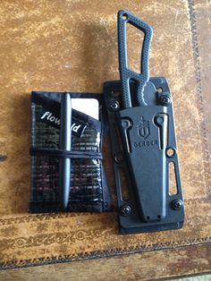 My edc. Flowfold slim wallet, gerber ghoststrike, fisher space pen. Hyper-minimal.