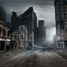 Illustration about Post apocalyptic scene with city street. Illustration of apocalyptic, illustration, background - 58339444 Post Apocalypse, Apocalypse Aesthetic, Apocalypse Survival, Apocalypse Landscape, Post Apocalyptic City, Arte Zombie, Abandoned Cities, Abandoned Churches, Abandoned Vehicles