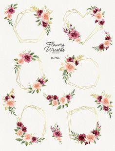 Tulip Wedding, Page Decoration, Burgundy Flowers, Heart Frame, Frame Clipart, Simple Wedding Invitations, Watercolor Rose, Wedding Frames, Flower Frame