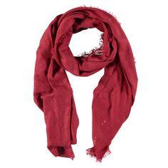 Rode zachte sjaal met rafelfranje