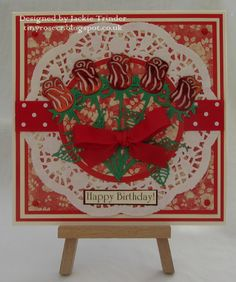 Tinyrose's Craft Room: Happy Birthday with Red Roses made with the Tattered Lace die Delicate Rose
