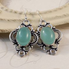 Bold Aqua Agate Luxe Earrings, Sterling Silver, Vintage Victorian, Decorative Silver Setting, Elegant Boutique Earrings, Blue Gemstone EMYS