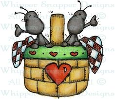 Ants in Picnic Basket - Bugs - Rubber Stamps - Shop