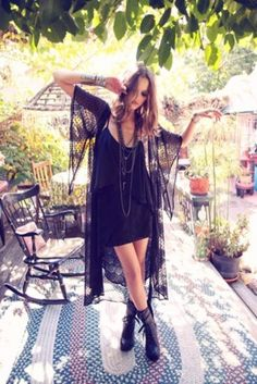 blouse boho hippie girly outfits outfit bohemian style fashion summer summer outfits black black outfit kimono