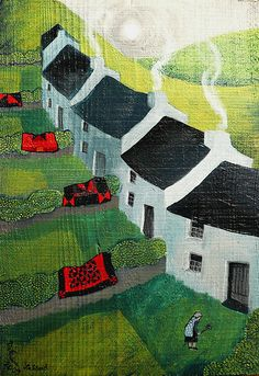 yr aelwyd Valerian Leblond, a Welsh artist, whose work has so much movement in it.Valerian Leblond, a Welsh artist, whose work has so much movement in it. Illustrations, Illustration Art, Art Texture, Landscape Art Quilts, Art Populaire, House Quilts, Naive Art, Fiber Art, Watercolor Art