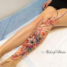 By Aleksey Platunov Tattoo Henna, Calf Tattoo, Leg Sleeve Tattoo, Best Tattoo Designs, Tattoo Designs For Women, Tattoos For Women, Pretty Tattoos, Unique Tattoos, Beautiful Tattoos