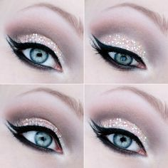 Natural shadow with a glittery accent topped off with  cat-eye liquid liner.