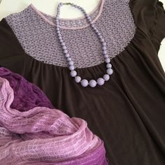 • Casual Brown and Lavender Dress • Beautiful lavender crocheted top accents this sweet and comfortable brown cotton/spandex dress.  Edges of sleeves and hem are lettuce-hemmed. Incredibly soft and comfortable! 3Free Dresses