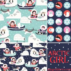 Arctic Girl Inuit Fabric Penguins Polar Animals Bears Orca Whales Snowflakes in Cameo Circles on Navy Blue StudioE