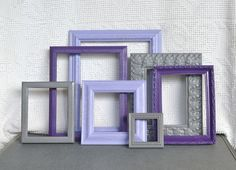 Purples, Greys Gray Painted Frames Set of 7 - Upcycled Frames Girls Modern Elegant Nursery decor. $60.00, via Etsy.