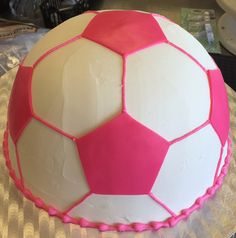 Pink soccer ball cake - Cake #040. Soccer Ball Cake, Sports Themed Cakes, Girls Soccer, Girl Cakes, Childrens Party, Party Cakes, Pink Girl, Cake Ideas, Party Ideas