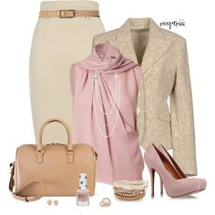 """Pink and Beige"" by exxpress on Polyvore"