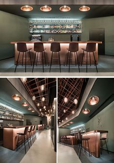 Hidden lighting under the bar, as well as lights hanging from the ceiling create a luxurious feeling and a warmth to the space.