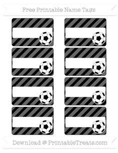 Free Black Diagonal Striped Soccer Name Tags