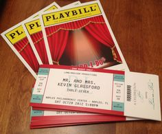 PLAYBILL Theater wedding ticket place cards seating. $1.50, via Etsy.