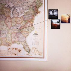 Correspond photos to where they took place on a map. | 20 Non-Scrapbook Ways To Remember Your Vacation Forever