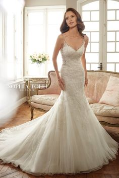 Sophia Tolli Bridal Sleeveless misty tulle fit and flare gown with slender illusion shoulder straps and soft sweetheart illusion neckline edged with crystal ha Perfect Prom Dress, Yes To The Dress, Dress Up, Bridal Dresses, Wedding Gowns, Prom Dresses, Lace Wedding, Fit N Flare, Boyfriends