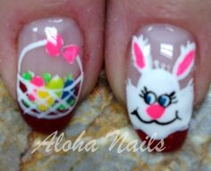 Bunny and Easter basket nail art by Aloha Nails. #NAILPRO