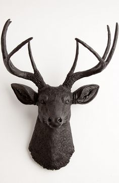 The Ignatius black faux deer head wall mount. Faux stag animal head decor and wall decor by WhiteFauxTaxidermy.