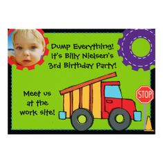 5x7 Construction Birthday customizable invitation, colorful, cute, and perfect for kids having a construction or truck theme birthday party! You can easily add your birthday party specifics and a photo to this birthday invitation before ordering. #construction #birthday #kids #boys #trucks #big #trucks #construction #vehicles #construction #birthday #boy #truck #birthday #childrens
