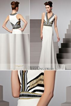 2013 Sexy White Low V Neck Beaded Evening Dress 81513