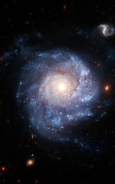 NGC 1309 -- A spiral galaxy ~120 million light-years away in the constellation Eridanus. It is about 75,000 light-years across; about 3/4s the width of our own galaxy, the Milky Way. Bright blue areas of star formation can be seen in the spiral arms, while the yellowish central nucleus contains older-population stars.