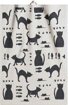 Ekelund Weavers Kattliv Cat Pattern Kitchen or Hand Towel. Dish Towels, Tea Towels, Hand Towels, Swedish Kitchen, Crochet Squares Afghan, Cat Themed Gifts, Swedish Weaving, Cat Pattern, Laura Ashley
