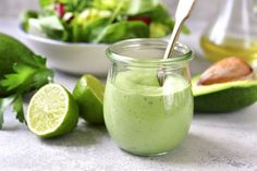 Avocado Green Goddess Dressing: This recipe is bursting with flavors and packed with healthy and fresh ingredients. Avocado Green Goddess Dressing: This recipe is bursting with flavors and packed with healthy and fresh ingredients. Healthy Fats, Healthy Recipes, Healthy Lunches, Detox Recipes, Dip Recipes, Quick Recipes, Sauce Recipes, Smoothie Recipes, Avocado Ranch Dressing