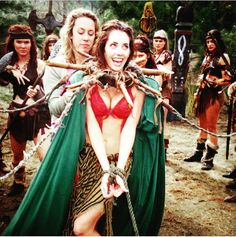 Adrienne Wilkinson as the character Eve and Livia -  behind the scenes on the set of Xena Warrior Princess.