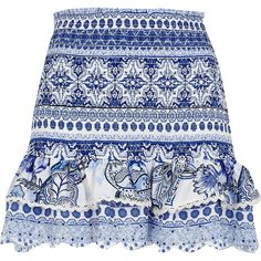 Blue floral shirred beach skirt