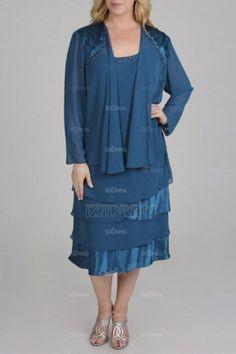 A-Line/Princess Square Tea-length Chiffon Satin Mother of the Bride Dress - IZIDRESSBUY.com at IZIDRESSBUY.com