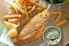 Polenta fish and chips with tartare sauce