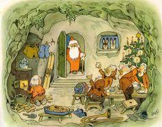 Weihnachtsfest im Wichtelland- Bilderbuch 50er www.eichwaelder.de