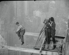 Bank of Manhattan, New York, 1929 It wasn't just the workers who put their lives on the line. The Pathé camera men had to have a head for heights as well. a clip http://www.britishpathe.com/video/905-feet-high