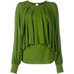 Plein Sud draped blouse featuring polyvore, women's fashion, clothing, tops, blouses, green, viscose tops, draped blouse, drape top, rayon tops and rayon blouses