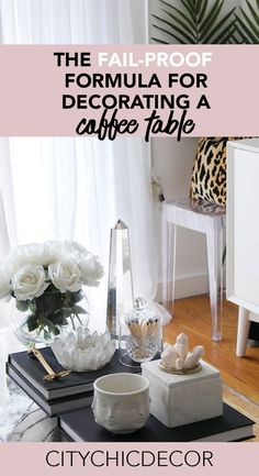 If you were to decorate only one thing in your living room, it should definitely be your coffee table. All coffee tables need to have some decor on it! There are no exceptions. This is a go-to formula for decorating a chic coffee table. Coffee Table Decor Living Room, Glam Living Room, Coffe Table, Decorating Coffee Tables, A Table, Living Room Decor, How To Decorate Coffee Table, Living Rooms, Diy Decorating