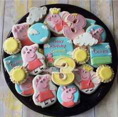 "Natasha on Instagram: ""Peppa the pig! #peppathepig #peppapig #peppapigparty #birthday #peppa #peppacookies #natsweets #cookies #customcookies #partyplatter #santee #sandiego #party #events"""