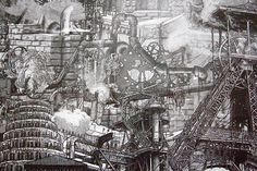 La Tour de Babel, version steampunk   by Mandril Steampunk Drawing, Mode Steampunk, Les Oeuvres, Science Fiction, City Photo, Abstract, Drawings, Artwork, Inspiration