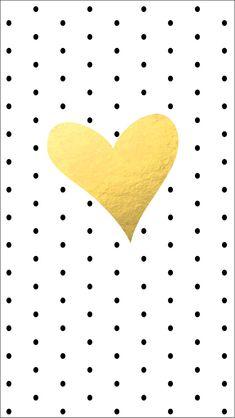 Black polka dots spots gold heart iphone wallpaper phone background lockscreen
