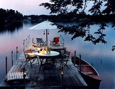 dinner on a dock lakeside Outdoor Dining, Outdoor Spaces, Lake Cottage, Lake Life, Interior Exterior, Plein Air, The Great Outdoors, Beautiful Places, Backyard