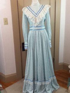 1970s Prairie Peasant Blue Cotton Floral Vtg Dress Gunne Sax Inspired w Sweep #Unbranded #PrairieDress #Everyday