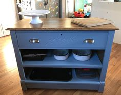 She bought this old dresser at a thrift store, but instead of putting it in her bedroom she did this in her kitchen instead!