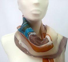 foulard de seda natural pintado a mano pieza única por susanasuarez