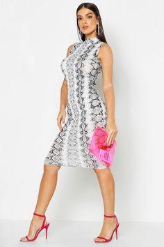 71fbcd35ab8 Snake Print Sleeveless Bodycon Midi Dress