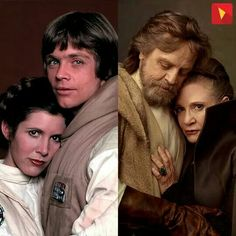 "Some things never change! Luke Skywalker & Princess Leia from ""StarWars: Episode IV - A New Hope"" & ""Star Wars: Episode VII - The Force Awakens"" Star Wars Film, Star Trek, Star Wars Art, Mark Hamill, Carrie Fisher, Luke Skywalker, Hollywood, Amour Star Wars, Heros Disney"
