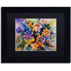 Trademark Fine Art Peonie Burst Canvas Art by Rita Auerbach, Black Matte, Black Frame, Size: 11 x 14
