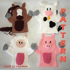 Hand Puppets - Farm Animals # 1 - Horse, Cow, Sheep, Pig - Crochet Pattern - MetricMama - Ravelry $5.50
