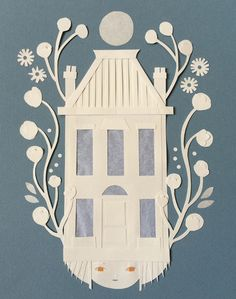 """Paper Moon - Claire Robertson  Paper cut 2016 8"""" x 10""""  Framed  $500 CAD  Contact to purchase Paper Moon, 10 Frame, Paper Cutting, Claire, Home Decor, Decoration Home, Room Decor, Home Interior Design, Home Decoration"""