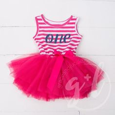 First Birthday Outfit Girl, Striped Magenta Dress 1st Birthday Dresses, First Birthday Outfit Girl, 3rd Birthday, Dress Outfits, Casual Dresses, Girl Outfits, Party Outfits, Tutus For Girls, Girls Dresses